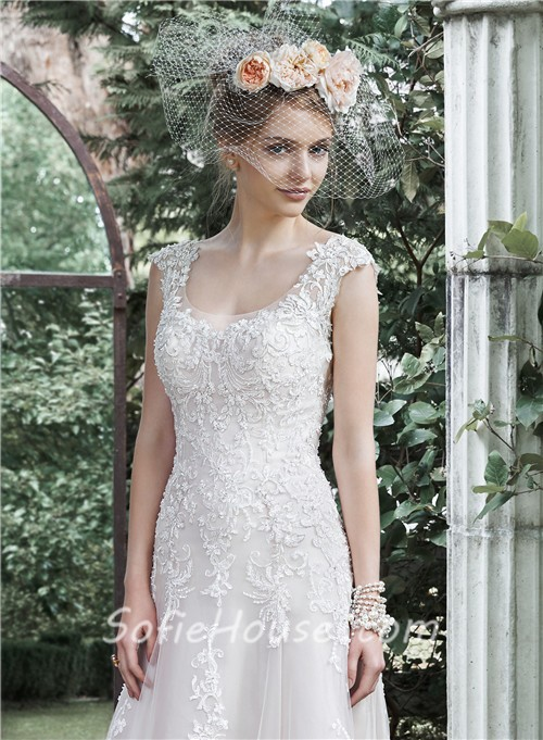 Romantic A Line Scoop Neckline Cap Sleeve Backless Vintage Lace ...