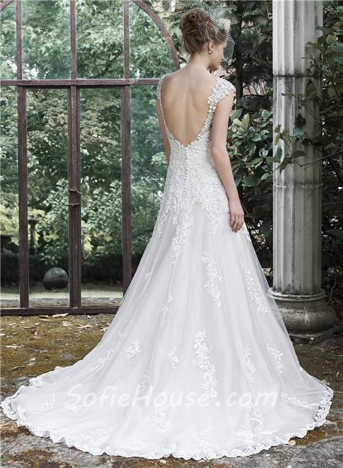 Romantic A Line Scoop Neckline Cap Sleeve Backless Vintage ... Lace Romantic Vintage Wedding Dresses With Sleeves