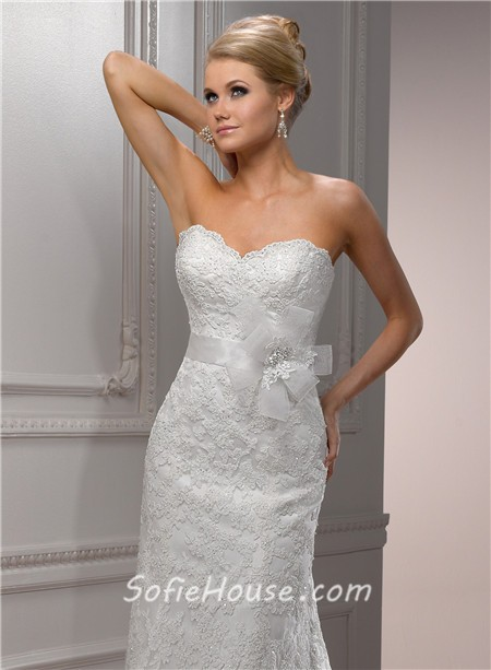 romantic a line sweetheart beaded lace wedding dress with detachable straps sash