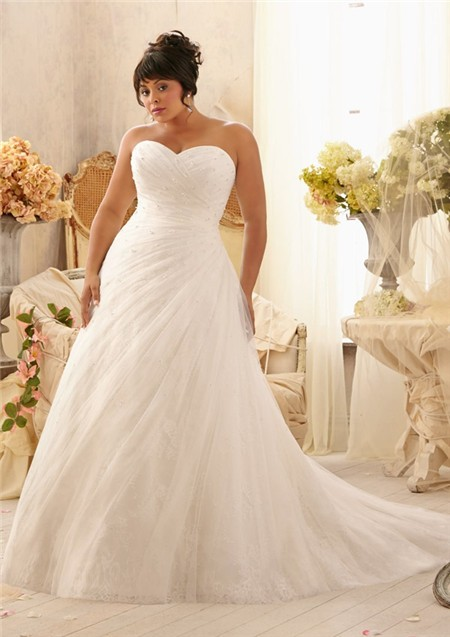 romantic a line sweetheart lace tulle beaded plus size