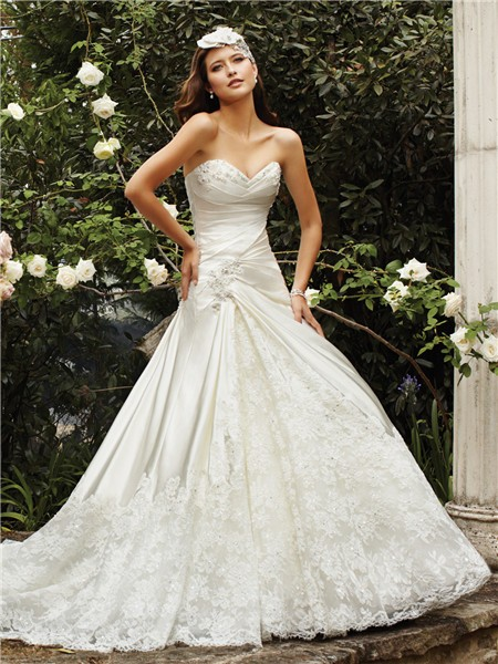 A Line Sweetheart Neckline Ivory Satin Lace Wedding Dress Chapel Train