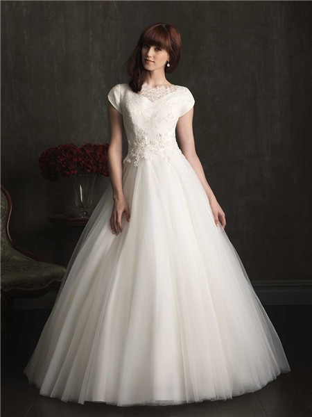 Romantic Ball Gown Cap Sleeve Lace Tulle Modest Wedding
