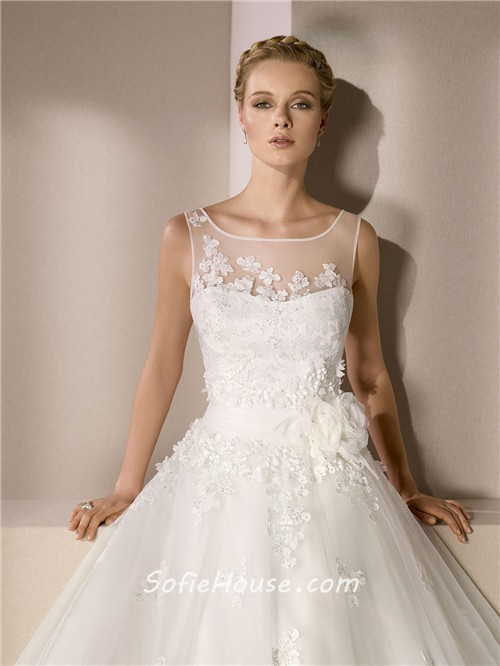 Romantic Ball Gown Illusion Bateau Neckline Sheer Back ...