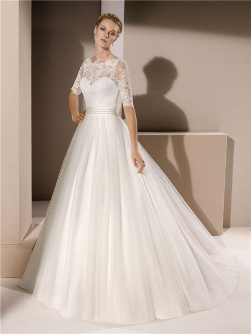 Ball gown scalloped neck tulle lace sleeve wedding dress with sash romantic ball gown scalloped neck tulle lace sleeve wedding dress with sash junglespirit Image collections