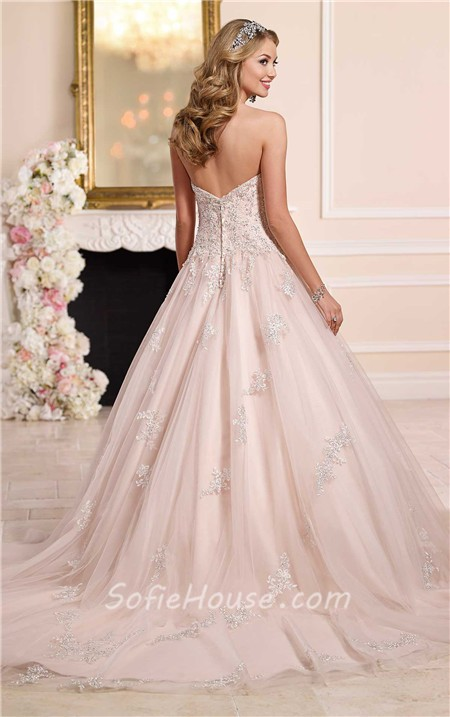 Romantic Ball Gown Strapless Blush Pink Tulle Lace Beaded Wedding Dress