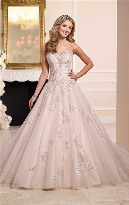 Ball Gown Strapless Blush Pink Tulle Lace Beaded Wedding Dress