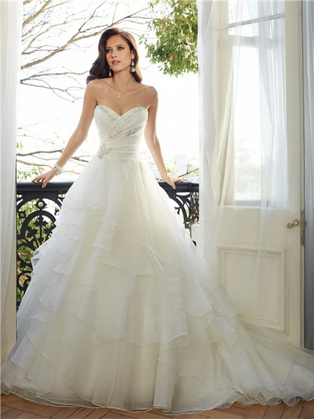 Romantic ball gown strapless sweetheart neckline layered for Sweetheart neckline wedding dress