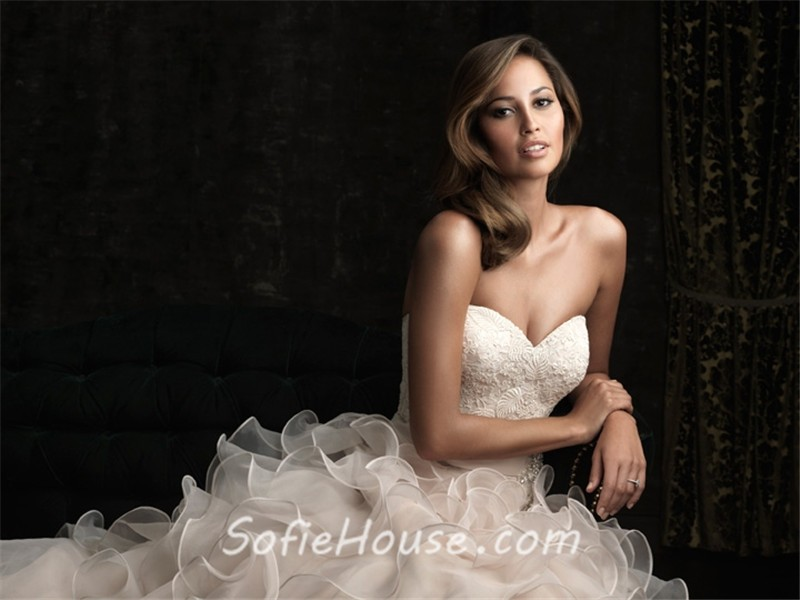 Ruffle Ball Gown Wedding Dress: Romantic Ball Gown Sweetheart Champagne Lace Layer Organza