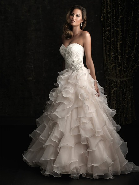 Romantic ball gown sweetheart champagne lace layer organza for Wedding dress champagne lace