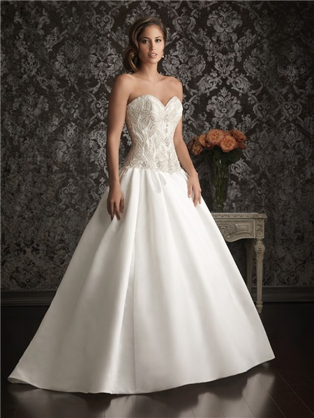 Romantic Ball Gown Sweetheart Satin Unique Beaded Pearl ...