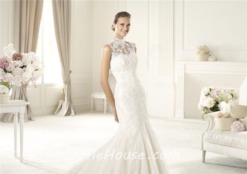 Romantic Fitted Mermaid Trumpet High Neck Illusion Back Lace ...