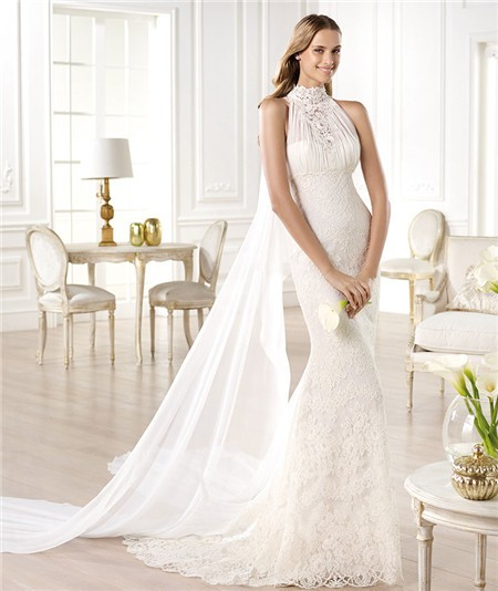 Romantic Mermaid High Neck Empire Lace Wedding Dress With Detachable Train
