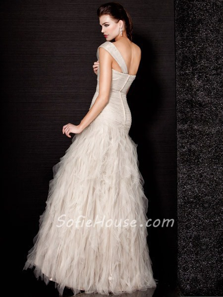 Romantic Mermaid One Shoulder Long Cream Tulle Evening Wear Dress