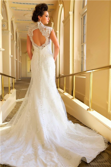 Romantic mermaid scalloped french lace open back wedding for Lace button back wedding dress