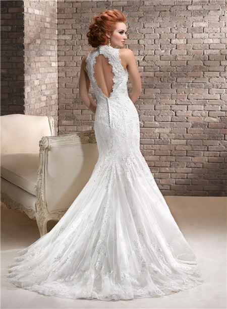 Mermaid Sweetheart Beaded Lace Wedding Dress With Keyhole Open Back