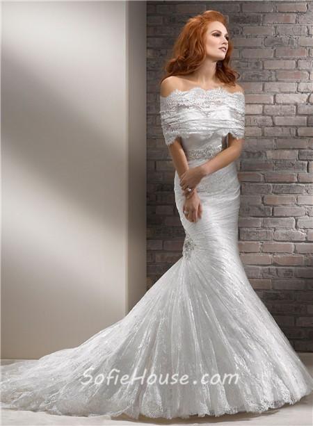 Mermaid Sweetheart Corset Back Lace Wedding Dress With Wrap Belt