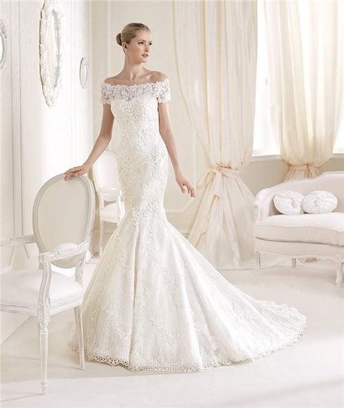 Mermaid Sweetheart Venice Lace Wedding Dress With Off The Shoulder ...