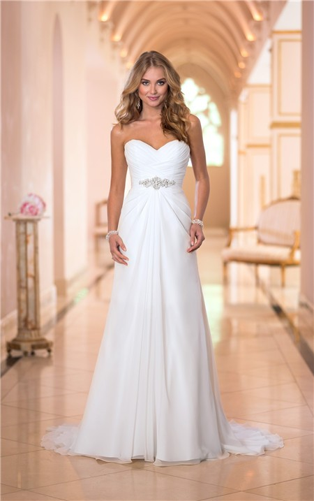 Romantic strapless sweetheart chiffon draped corset for Sweetheart corset wedding dress