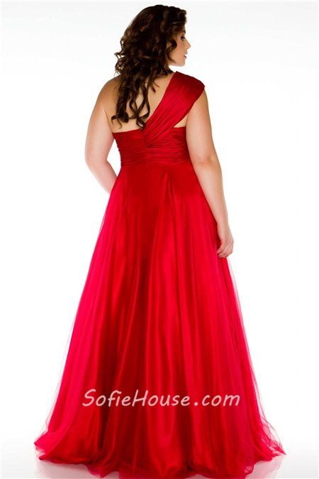 One Shoulder Red Prom Dresses Plus Size Royal A Line One Shoul...