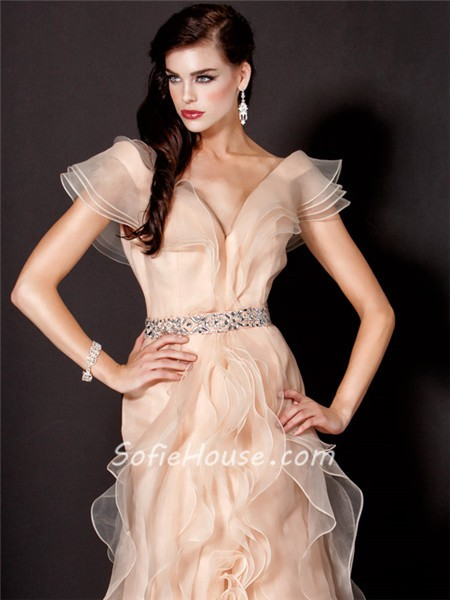 Cocktail dress with long organza sleeves