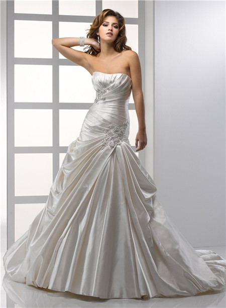 Royal a line princess strapless ivory satin wedding dress for Pick up wedding dress