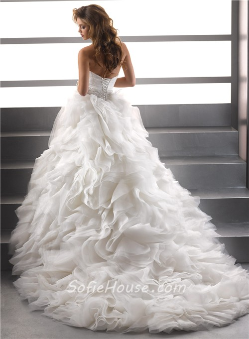 Royal Ball Gown Sweetheart Puffy Organza Wedding Dress With Pearls ...