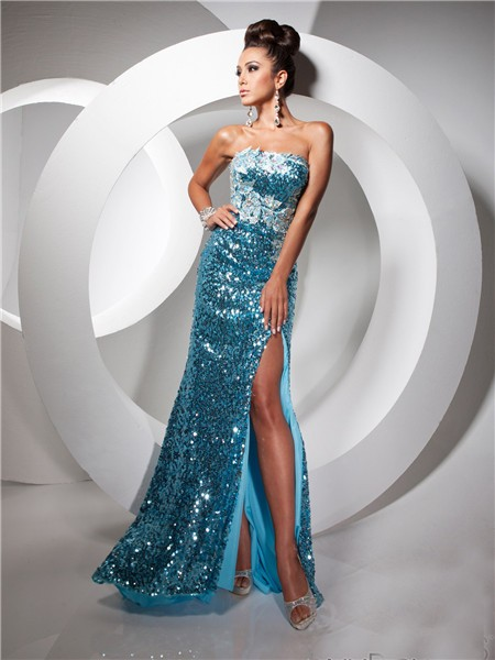 Royal Sheath Strapless Long Blue Sequin Prom Dress With Slit Beading