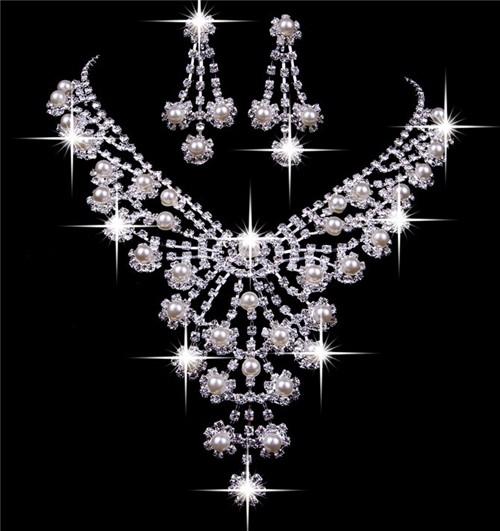 Royal Shining Pearls Rhinestones Wedding Bridal Jewelry Set