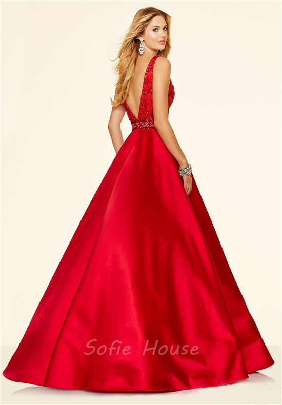 Sexy A Line Deep V Neck Low Back Long Red Satin Beaded