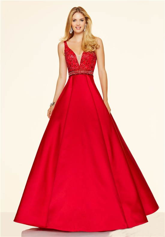 56a8b45bfd44 Sexy A Line Deep V Neck Low Back Long Red Satin Beaded Prom Dress