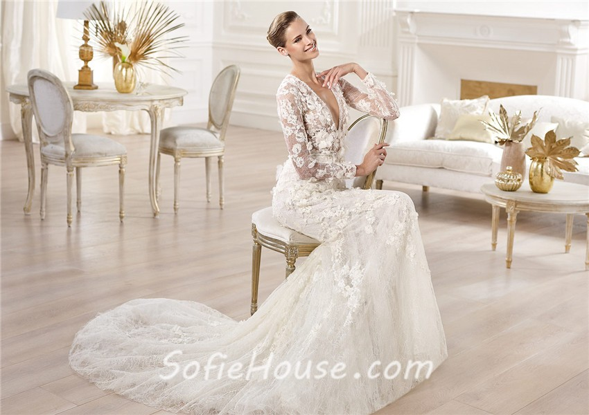 Sexy A Line Deep V Neck Sheer Long Sleeve Lace Wedding