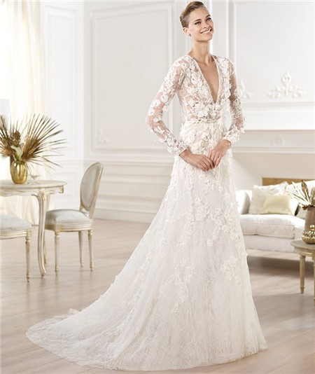 A Line Deep V Neck Sheer Long Sleeve Lace Wedding Dress With Flowers