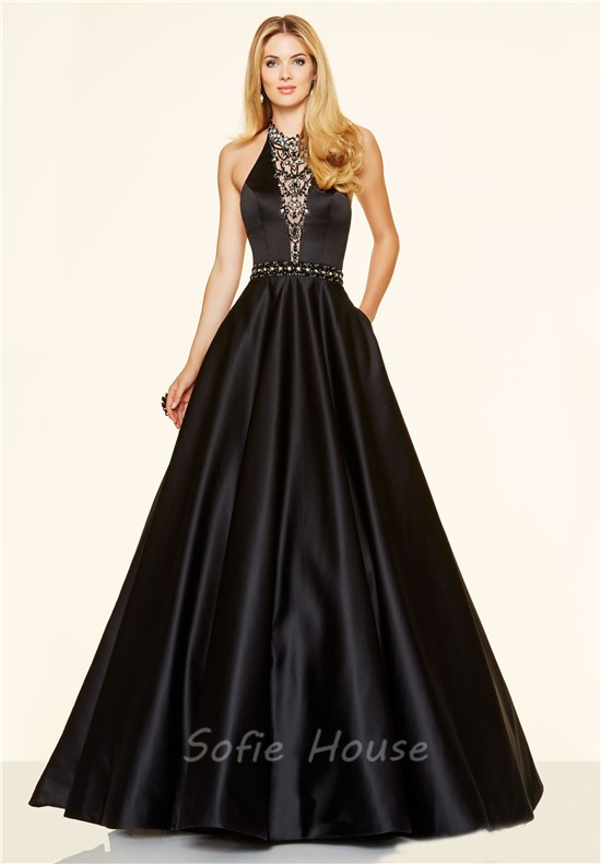 51619e591f ... Sexy A Line Halter Backless Long Black Satin Beaded Prom Dress