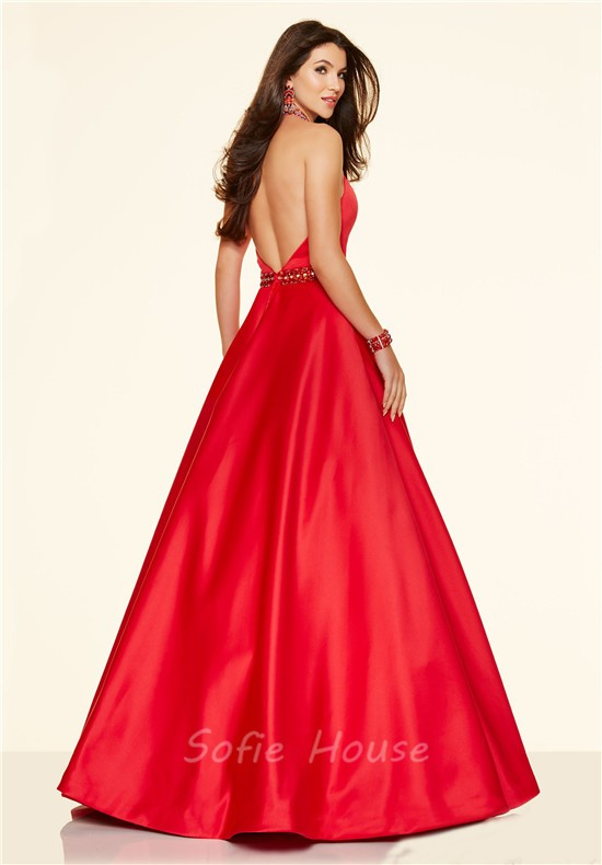 Sexy A Line Halter Backless Long Red Satin Beaded Prom Dress