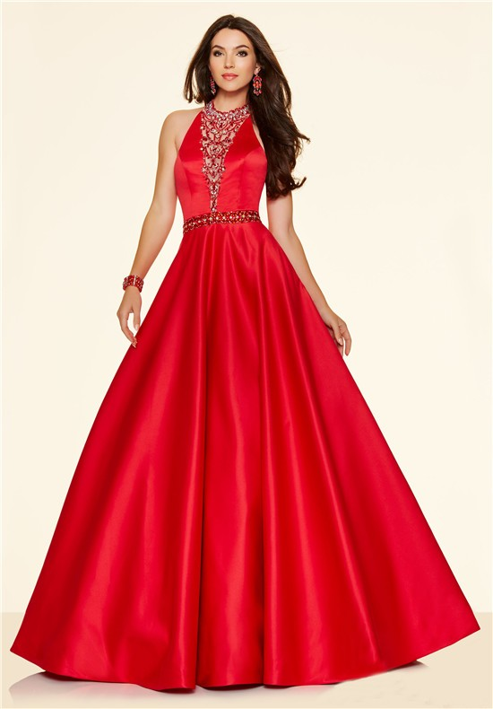 Red Beaded Halter Prom Dress
