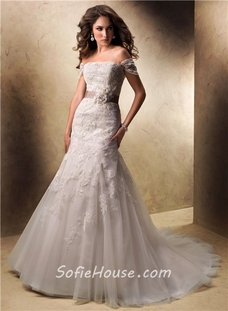 Sexy A Line Off The Shoulder Lace Wedding Dress With Detachable ...