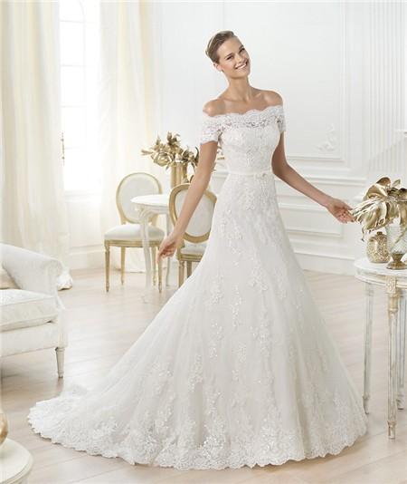 a-line off the shoulder wedding dresses