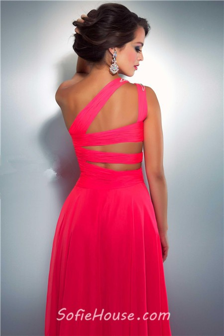 Sexy A Line One Shoulder Long Neon Red Chiffon Beaded Prom Dress ...