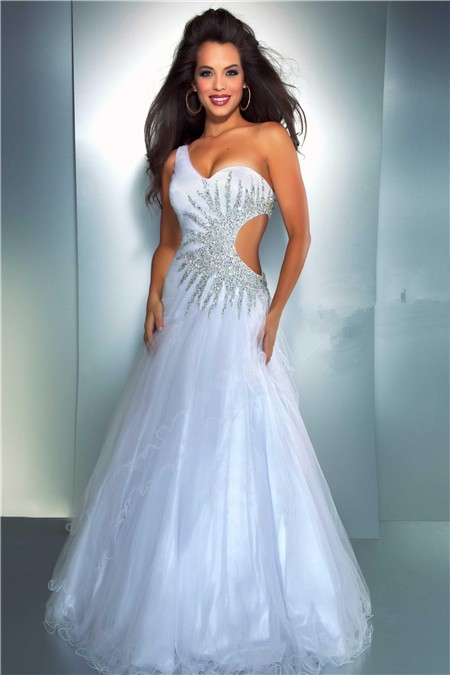 7f015e8eb03 Sexy A Line One Shoulder Side Cut Out Long White Tulle Beaded Prom Dress