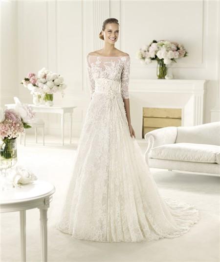 A Line Princess Off The Shoulder Three Quarter Sleeve Lace Wedding ...