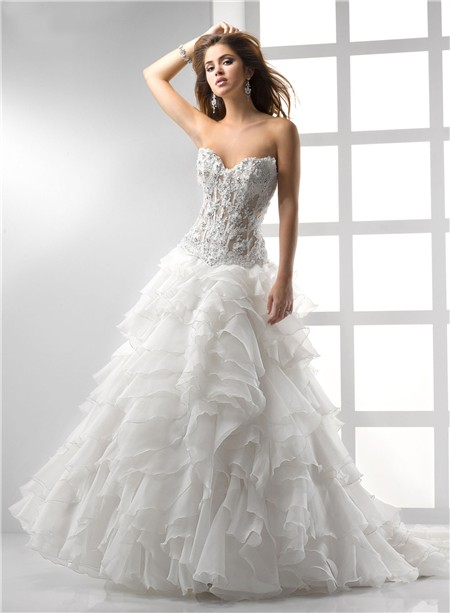 Exceptional Sexy A Line Princess Sweetheart See Through Corset Wedding Dress With Lace  Ruffles Beading Photo