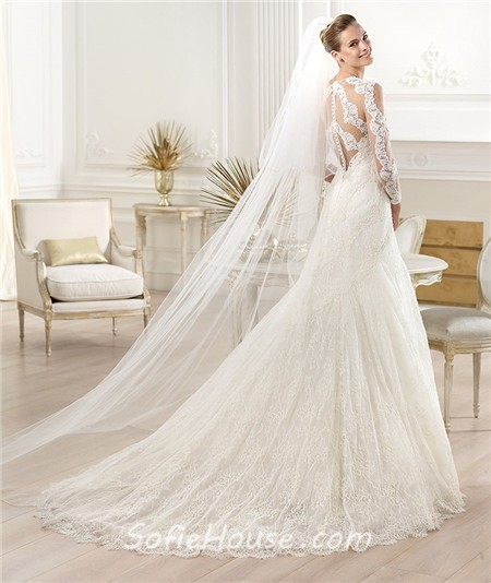 Sexy a line scoop neck sheer see through long sleeve lace for See through lace wedding dress