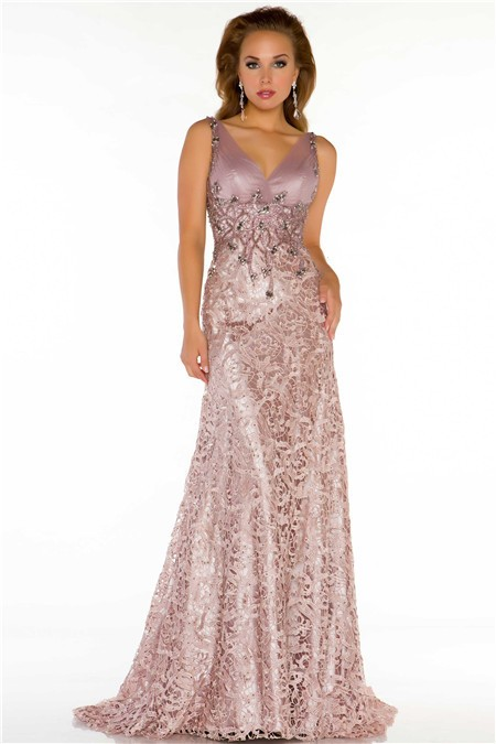 A Line V Neck Long Nude Lace Beaded Special Occasion Evening Dress