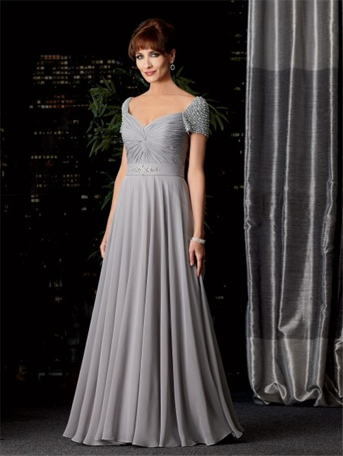 A line V neck long silver chiffon mother of the bride dress