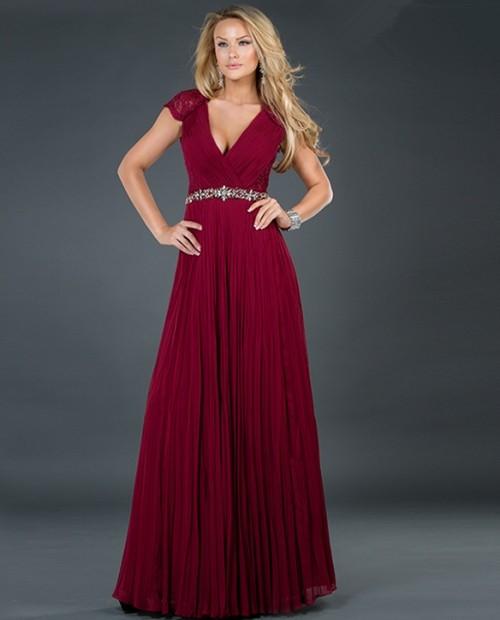 Sexy A-Line V-Neck Burgundy Chiffon Long Prom/formal Dress