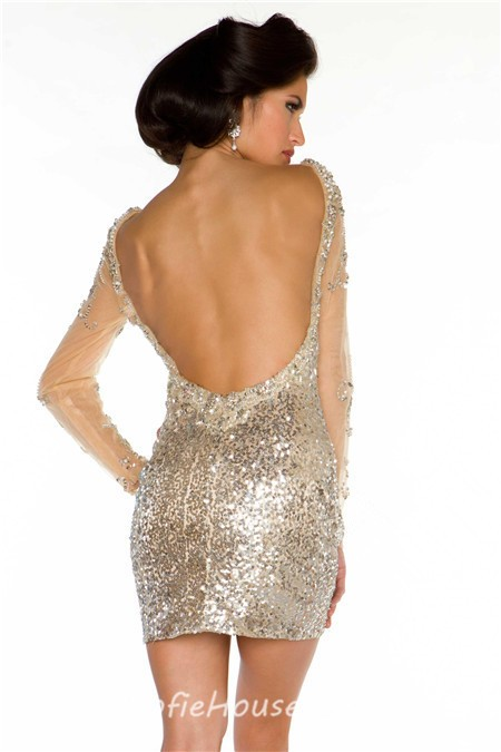 Sexy Backless Short Mini Champagne Sequin Beaded Long Sleeve ...