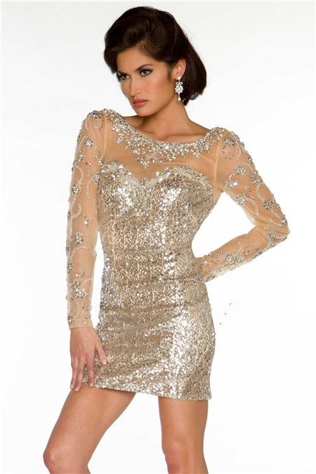 Backless Short Mini Champagne Sequin Beaded Long Sleeve Evening ...