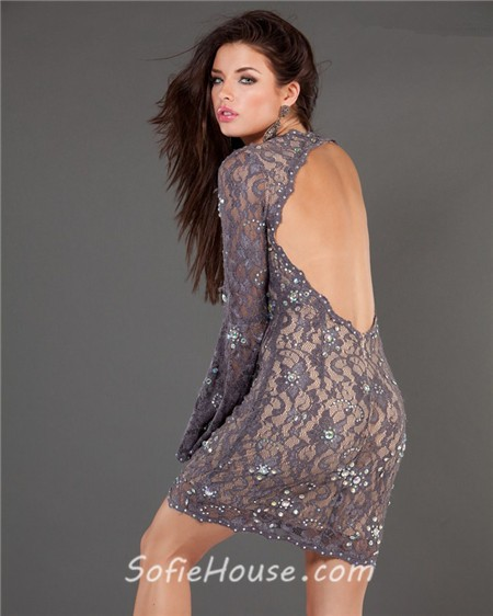 Sexy Backless Short Mini Charcoal Grey Lace Cocktail Prom Dress ...