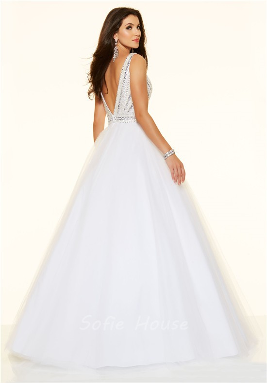 50ebf2a33777aa ... Sexy Ball Gown Deep V Neck Low Back White Tulle Beaded Sparkly Prom  Dress ...