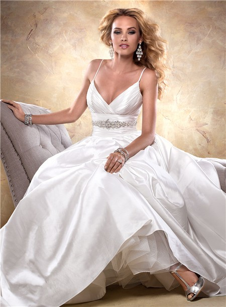 Sexy Ball Gown Deep V Neck Spaghetti Strap Taffeta Wedding